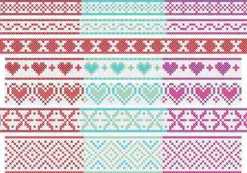 Cross Stitch Banners - Free vector #343435