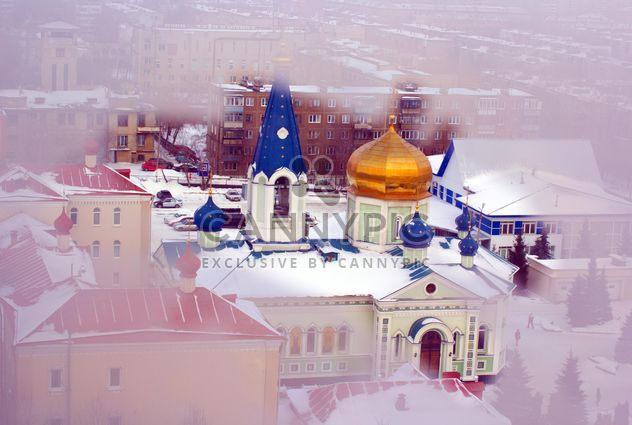 Winter view of the cathedral through the frozen window, Chelyabinsk - Free image #343925