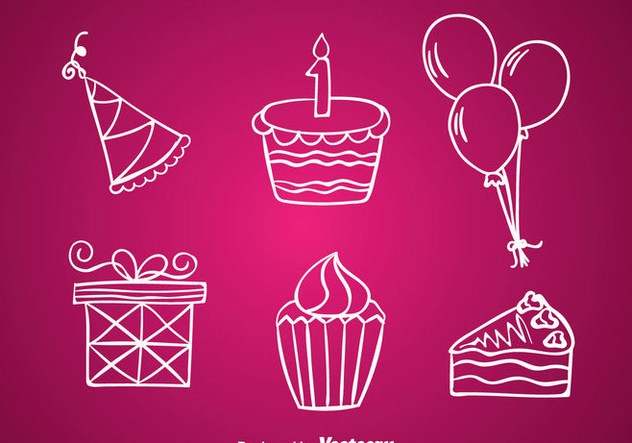 Birthday White Line Icons - Free vector #344315