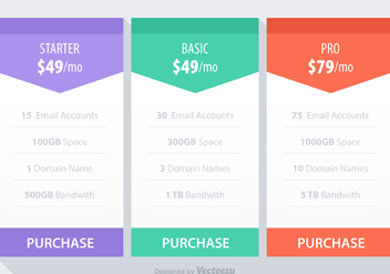 Free Pricing Table Vector - Kostenloses vector #344465