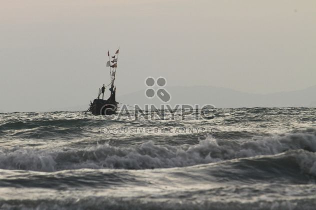 Boat on waves in sea - Free image #344515