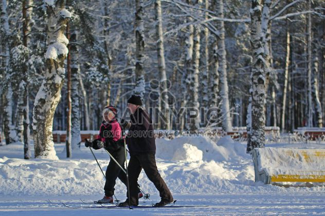 Elderly couple skiing in winter park - Free image #344635