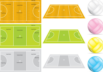 Netball Courts And Balls - Kostenloses vector #344675