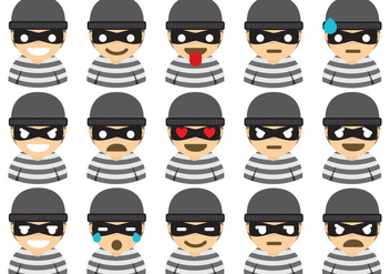 Robber Emoticons - Free vector #344855