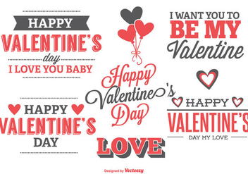 Cute Typographic Valentine's Day Labels - vector #345165 gratis