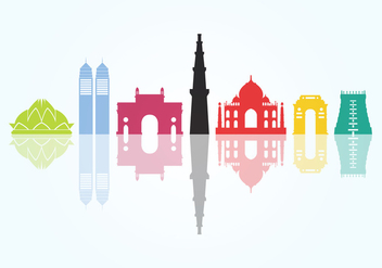 Indian City Monuments - бесплатный vector #345425