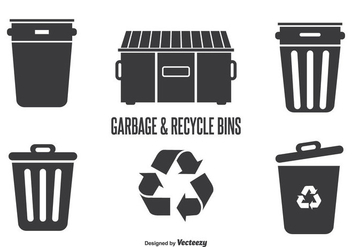 Garbage & Recycle Bins - vector gratuit #345455