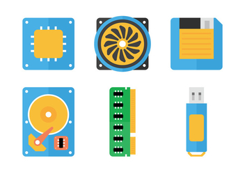 CPU Flat Icons - vector gratuit #345475