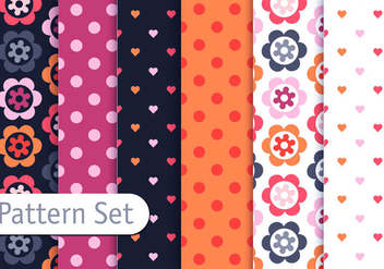 Romantic Colorful Pattern Set - vector #345485 gratis