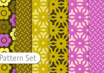 Floral Geometric Pattern Set - vector gratuit #345525