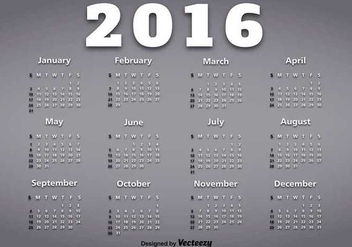 Calendar of year 2016 - vector #345565 gratis