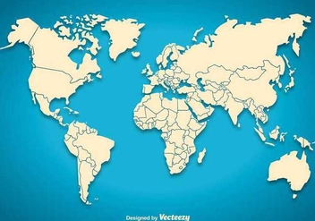 World map silhouette - vector gratuit #345635