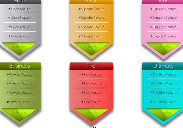 Colorful Pricing Table Vectors - Free vector #345785