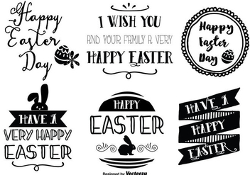 Cute Hand Drawn Style Easter Labels - vector gratuit #345995