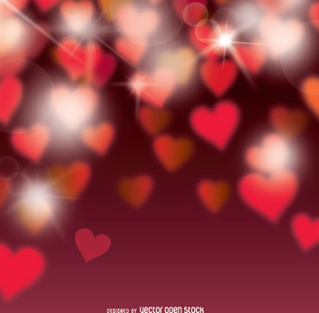 Valentine's Bokeh hearts background - Free vector #346155