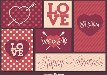 Retro Valentine's Day Elements - vector gratuit #346445