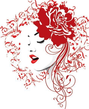 Red Rose Girl Decoration - vector gratuit #346495