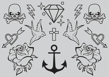 Old School Tattoo Vectors - Free vector #346695