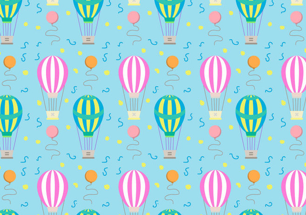 Hot Air Balloons Pattern Vector - Free vector #346725