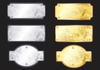Metal Name Plate Vectors - Free vector #346755