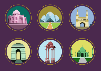 India Landmark Icon Vectors - vector gratuit #347075