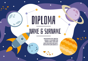 Free Cute Space Diploma Backgorund - vector gratuit #347135