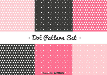 Pink and Black Dot Pattern Set - vector gratuit #347405