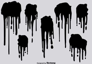 Black spray paint drips vectors - Kostenloses vector #347415