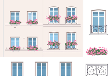 Architecture And Balcony Vector Elements - Free vector #347425