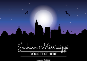 Jackson Mississippi Night Skyline - бесплатный vector #347495