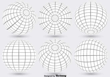 White Globe Grid Vectors - бесплатный vector #347595
