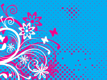 Floral Swirls Butterflies Halftones Background - Kostenloses vector #347665