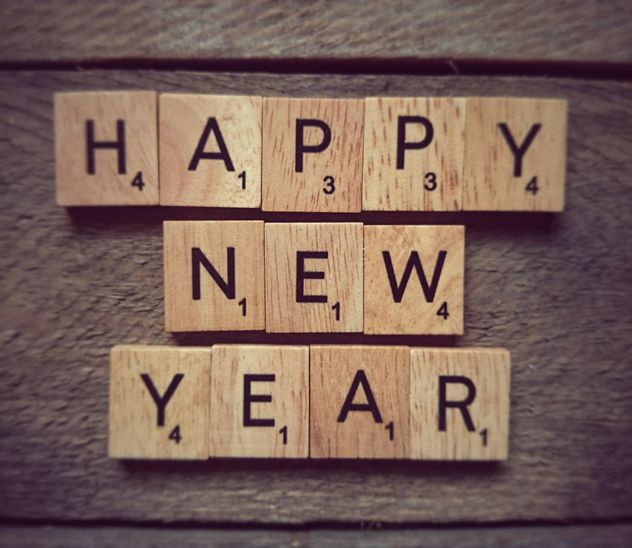 Happy new year text on wooden cubes - бесплатный image #347825
