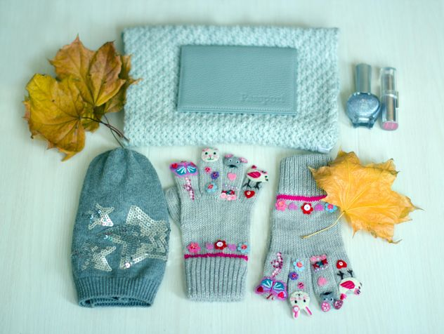 Warm autumn accessories and yellow leaves - бесплатный image #348025