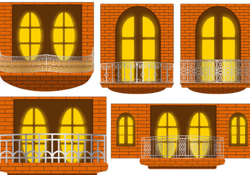 Balcony in the Night Vectors - Free vector #348115