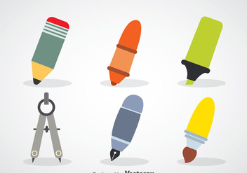 Stationary Flat Icons - Free vector #348205