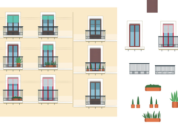 Windows and Balcony Vectors - vector gratuit #348715