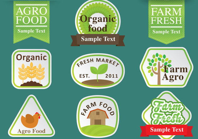 Agro Logos And Ribbons - vector gratuit #348745