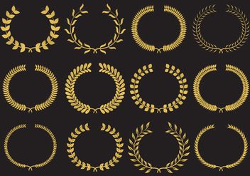 Gold Wreath Vectors - vector gratuit #348885