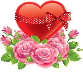 Ribbon Heart Roses Valentine Background - vector gratuit #348895