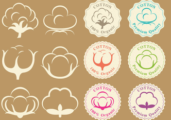 Cotton Logos And Badge Vectors - Kostenloses vector #349125