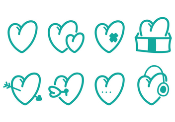 Heart Icon Set - vector gratuit #349485