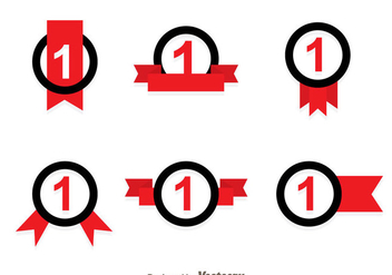 First Place Ribbon Black And Red Icons - Free vector #349725