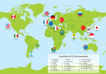 G20 Countries World Map Vector - Free vector #349805