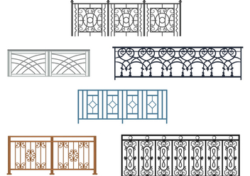 Curved Balcony Rails Vectors - бесплатный vector #349835