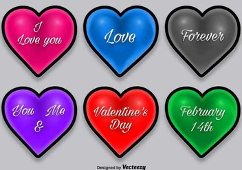 Colorful heart icons with shadows - vector gratuit #349855
