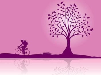 Boy Cycling Sunset Landscape - vector gratuit #349905
