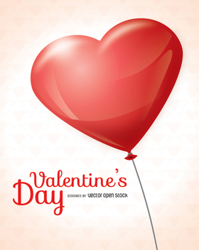Valentine's Day heart balloon card - vector gratuit #349915