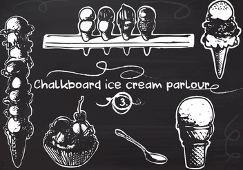 Free Hand Drawn Ice Cream set on Chalkboard Vector Background - vector gratuit #350165