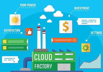 Free Vector Cloud Factory - vector gratuit #350415